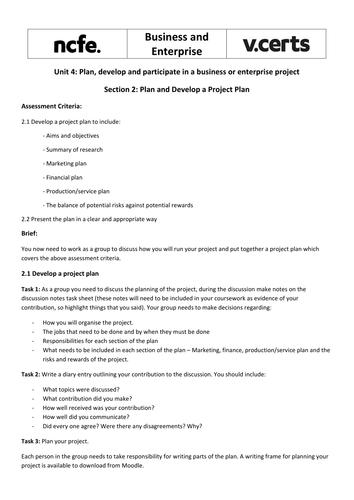 NCFE V-Cert Business Enterprise Unit 4 Tasks, worksheets and ...