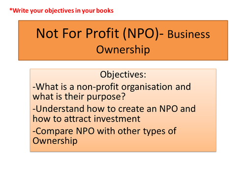 Business Ownership- Not for profit organisation