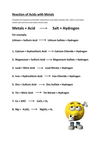Reacting Metals, Metal Oxides & Metal Carbonates with Acid