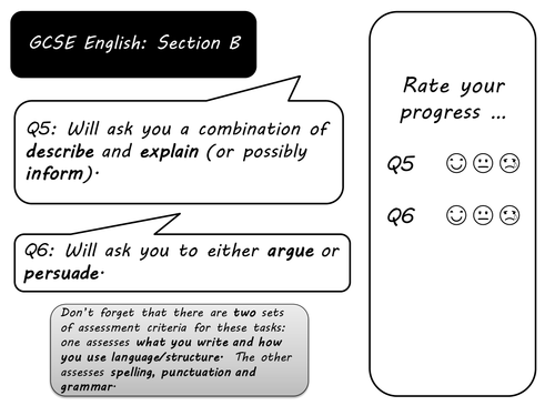 Revision pack for AQA English Exam Section B