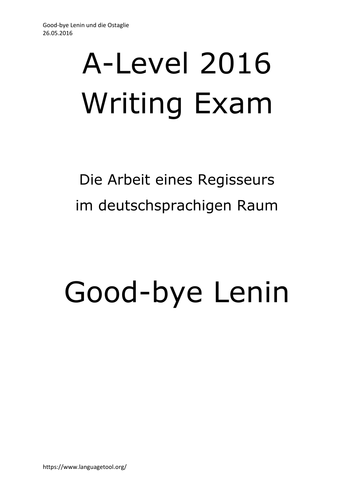 A2 German Writing Exam Cultural Topic Good-bye Lenin +Ostalgie