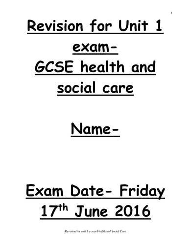 AQA Health and social Care revision booklet unit 1- exam