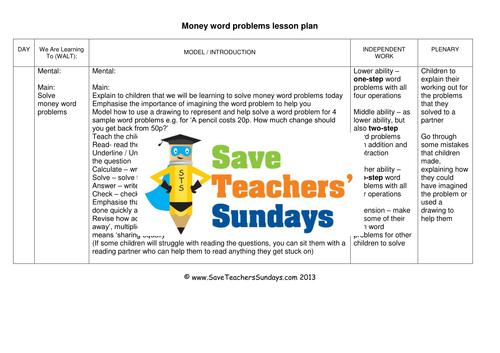 Money Word Problems KS2 Worksheets, Lesson Plans and Model Worksheet