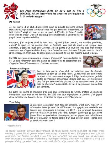 London Olympics 2012 - Sports Reading Comprehension