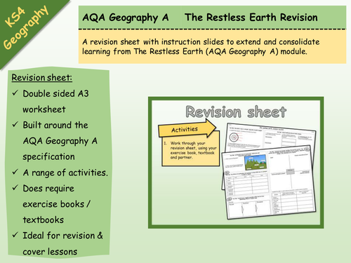 AQA Geography A - The Restless Earth - Revision Sheet