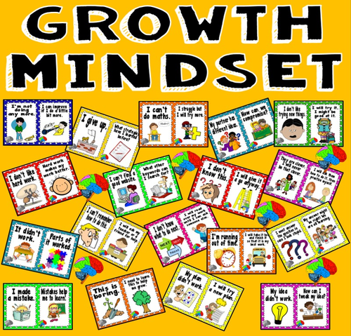 GROWTH MINDSET POSTERS DISPLAY -BRAIN THINKING skills positivity motivation self esteem