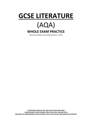 AQA LITERATURE EXAM - FOCUS ON PAPER 1 SECTIONS A AND B