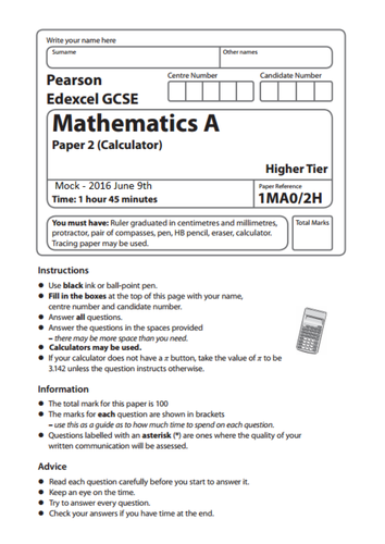 2016 Maths GCSE Predicted Topic List 9th June Higher and Foundation Papers and Booklets