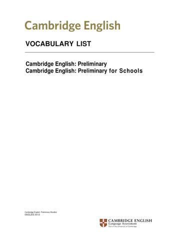 Cambridge B1 (PET) Vocabulary List