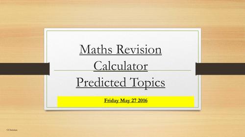 Gcse Maths Calculator Paper Revision 2016