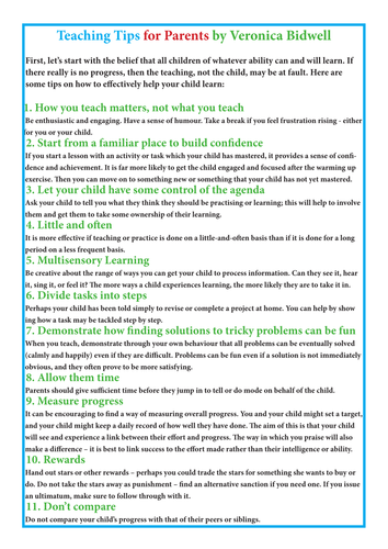 Teaching tips to give to worried parents