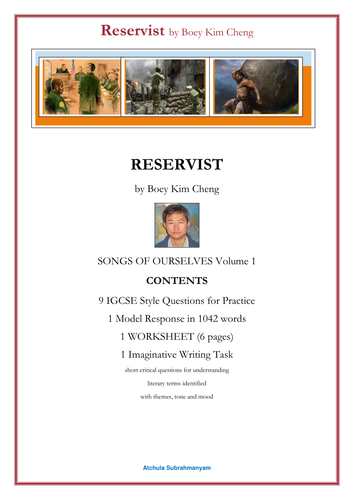 RESERVIST by Boey Kim Cheng  9 IGCSE Style Questions_1 Worksheet and 1 Model Response 1016 words