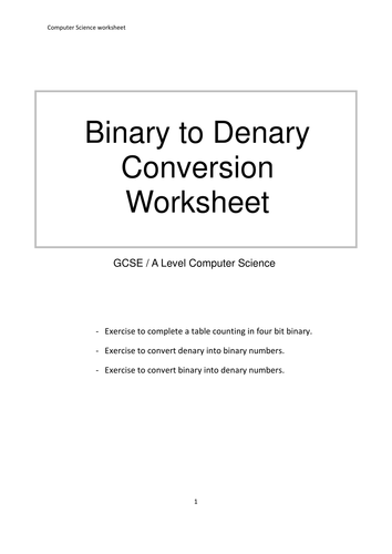 data representation binary denary decimal conversions worksheet by mrdaniels14 teaching. Black Bedroom Furniture Sets. Home Design Ideas
