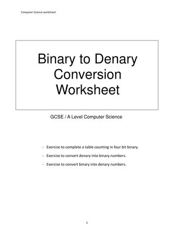 data representation binary denary decimal conversions worksheet by mrdaniels14 teaching. Black Bedroom Furniture Sets. Home Design Ideas