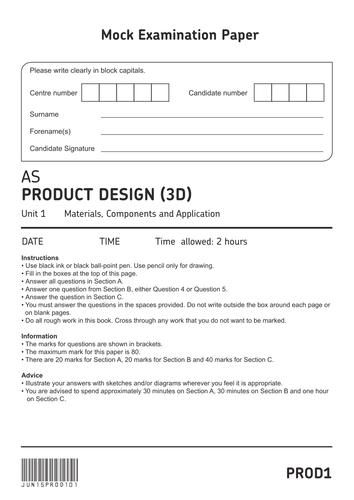 AQA AS Level 3D Product Design Mock Paper