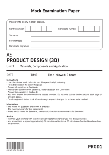 AQA AS Level 3D Product Design Mock Paper