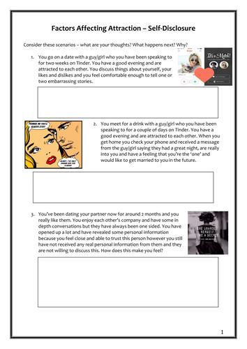 Relationships - Self Disclosure Workbook AQA A Level Year 2
