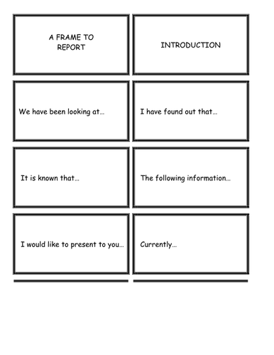 Literacy Cards / Writing Frame to 'report'