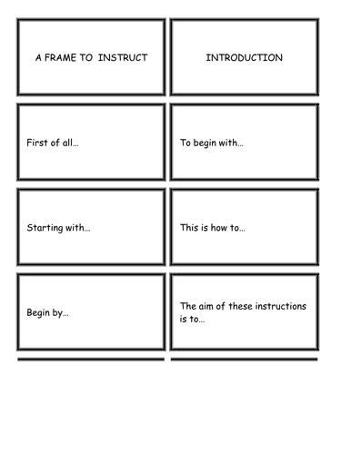 Literacy Cards / Writing Frame to 'Instruct.'