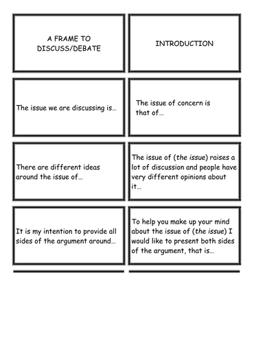Literacy cards to discuss / debate