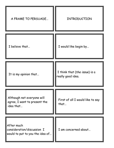 Literacy Cards / Writing Frame to 'Persuade'