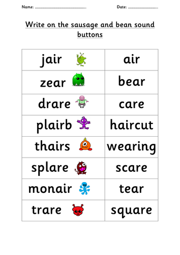 Phonics /air/ /ear/ /are/ family alien and real words