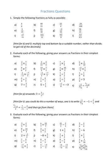 GCSE Fractions Worksheet by curingd | Teaching Resources