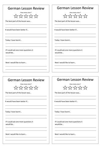 German Lesson Review Document
