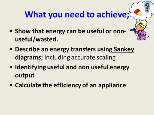 Sankey diagrams and energy transfers for quick  and fun progress