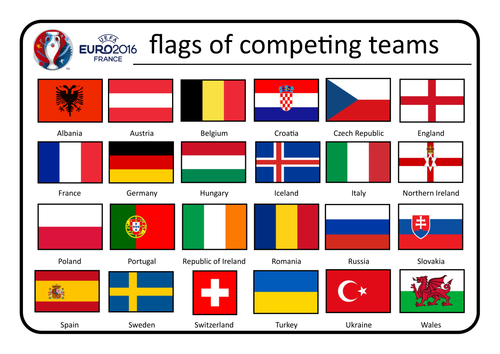 Euro 2016 Country Flags  resources and acitviites by