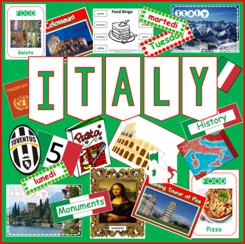 ITALY AND ITALIAN LANGUAGE- MULTICULTURAL AND DIVERSITY RESOURCES DISPLAY GEOGRAPHY
