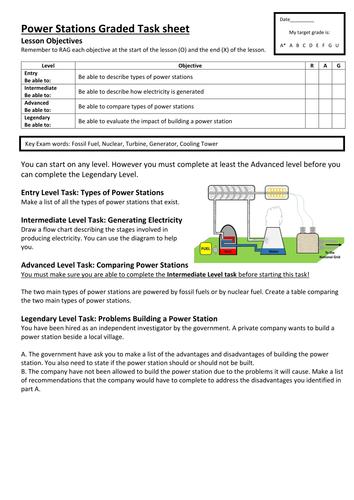Graded Task sheet on Power Stations
