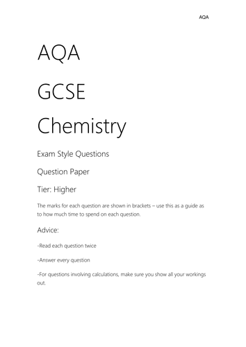 AQA Chemistry Exam Style Questions
