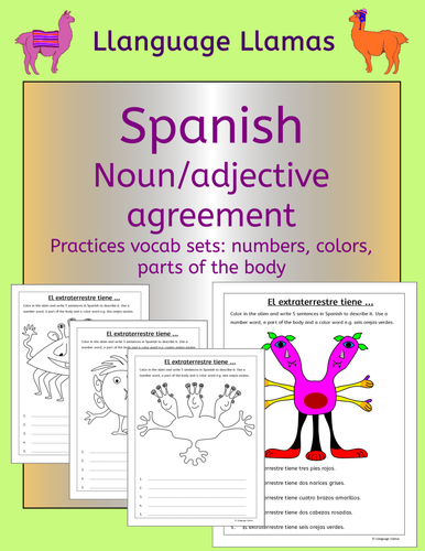 Spanish Numbers Colors Parts Of The Body Noun Adjective