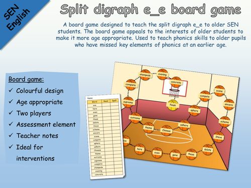 SEN English - Phonics - Split digraph e_e basketball board game