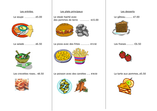 French Food La Nourriture Worksheet 4 Au Restaurant 11289416 on 7 Times Table Learning