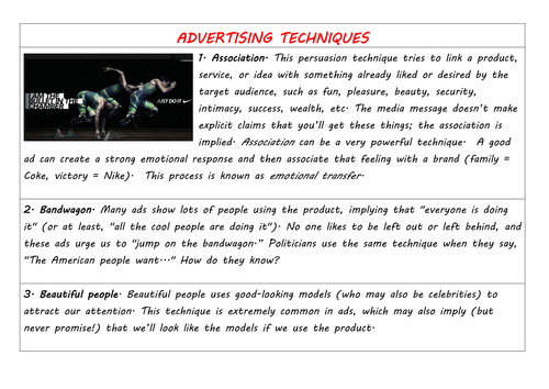 Persuasive TV adverts and extracts