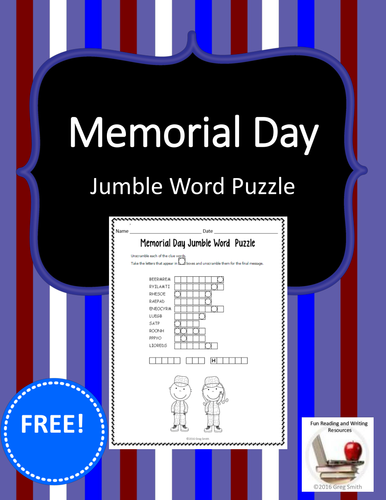 Memorial Day Free Jumble