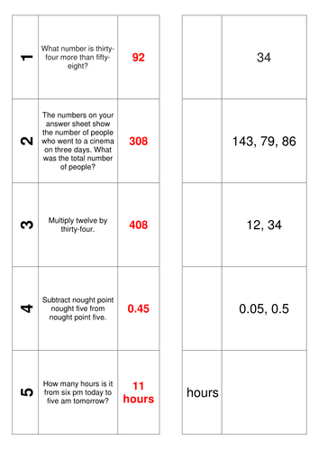 245 Maths Mental Arithmetic Numeracy Oral Questions and Answers KS2 and KS3.