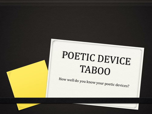Poetry Starter TABOO - Fun Activity to Cement Knowledge of Poetic Devices
