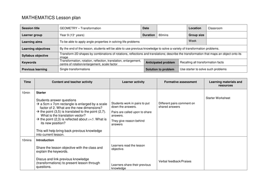 Lesson Plan - Combined Transformations