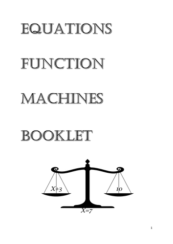 Equations Function Machines Booklet with answers