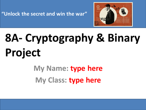 Cryptography & Binary Unit- 8 Lesson SOW With ALL TEACHER & STUDENT RESOURCES