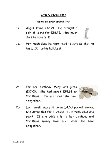 WORD PROBLEMS - using all four operations