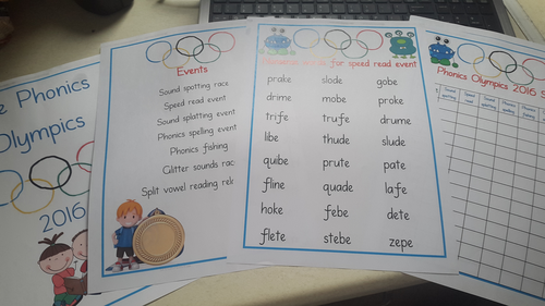 Phonics Olympics handout for activities.