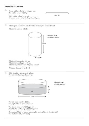 Density questions for maths GCSE
