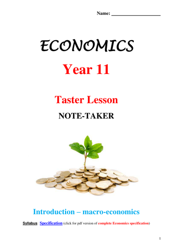 Year 11 AS Economics Taster Lesson