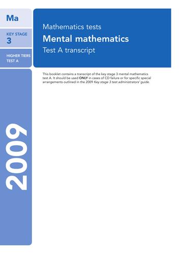 2009 KS3 SATS Maths Level 3-8 Pack