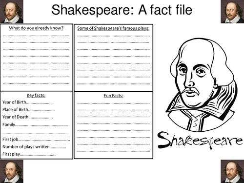 Shakespeare fact file worksheet