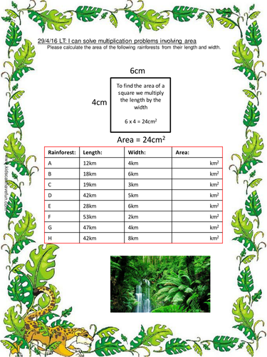 Area of the Rainforest multiplication worksheets